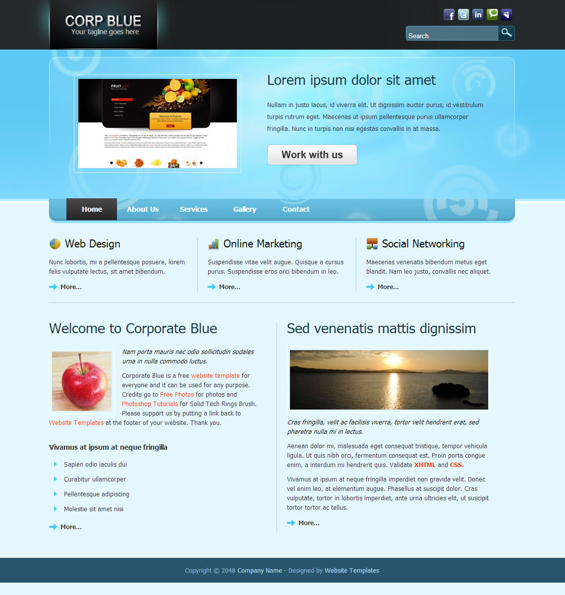 Corporate Blue Free And Premium Website Templates Themes