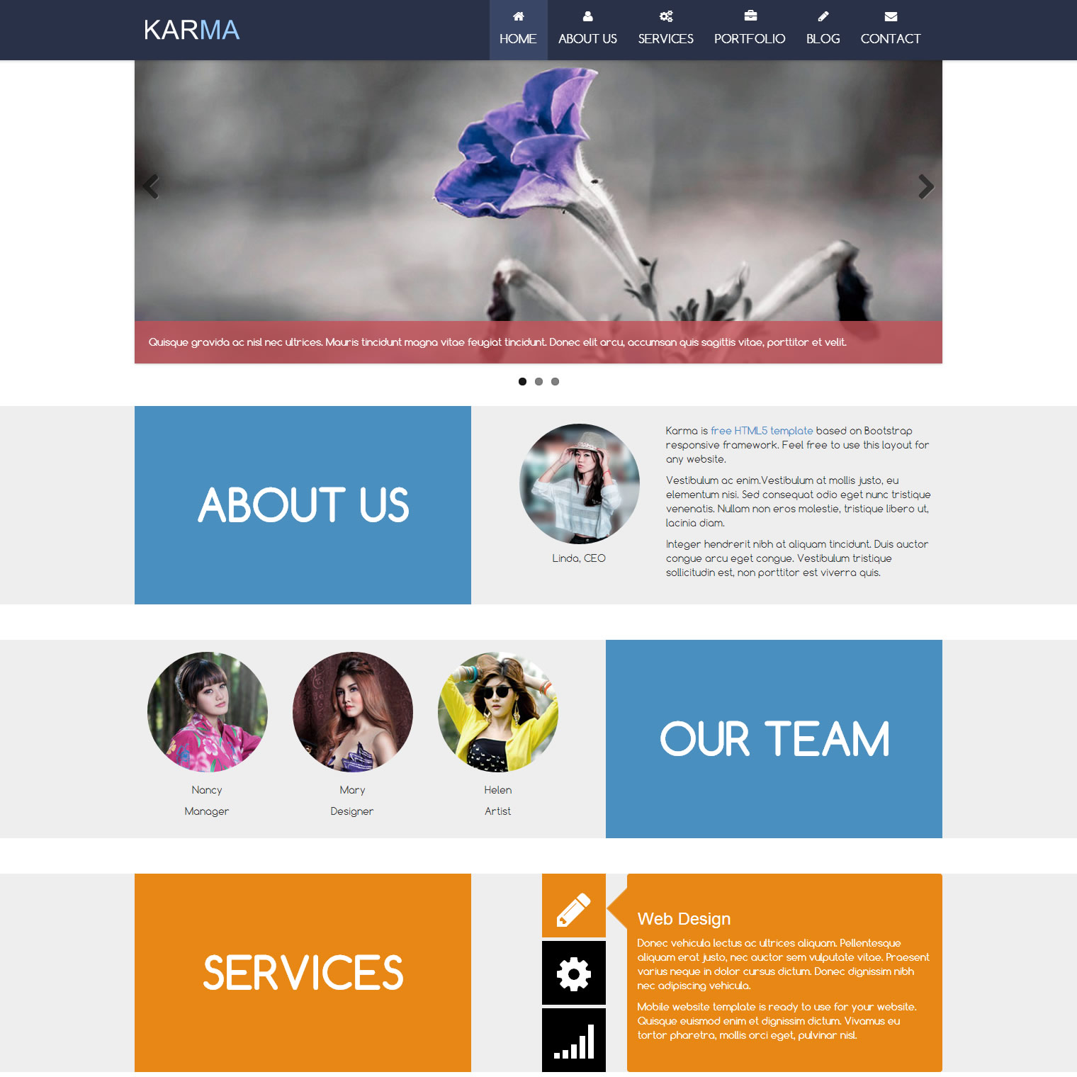 Karma Template Free And Premium Website Templates Themes
