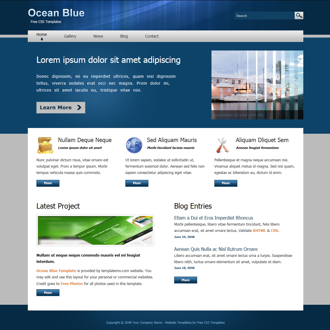 Ocean Blue Template Free And Premium Website Templates Themes